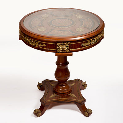 Round Glass-Top Corner Table