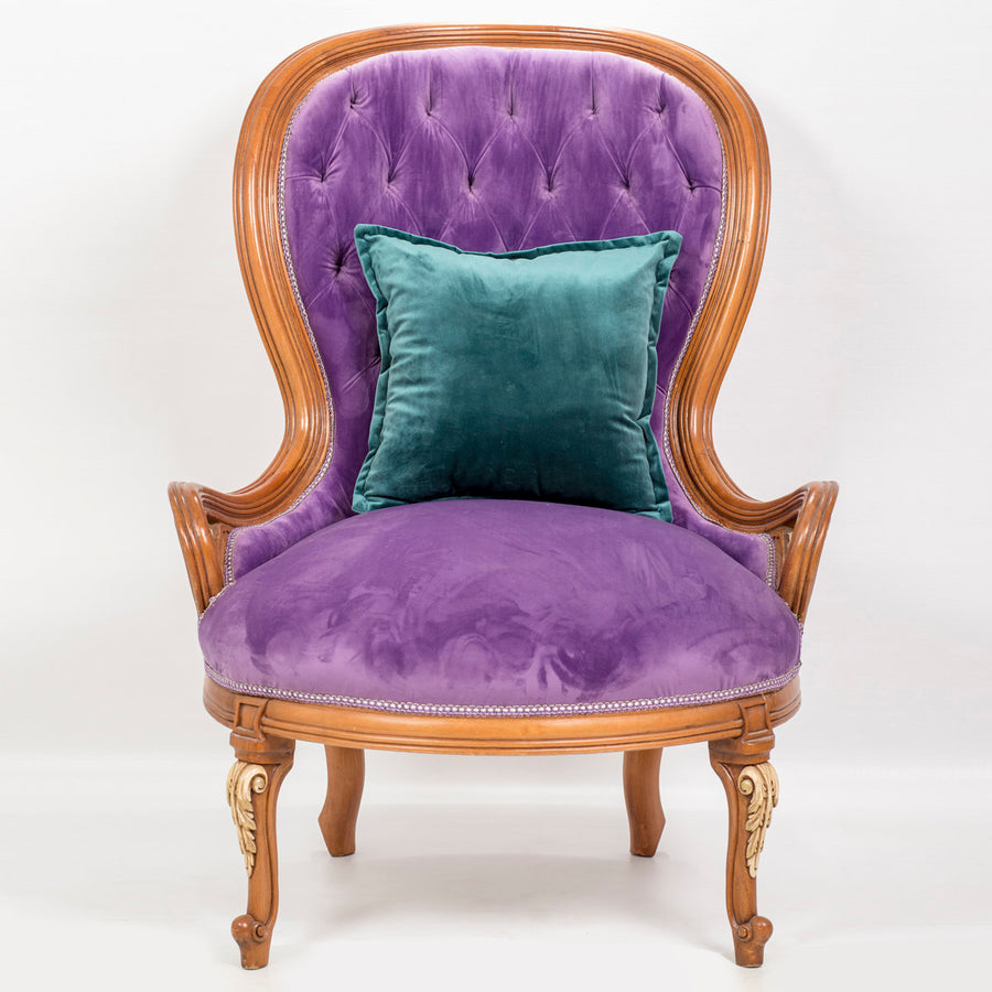 Purple tufted BergÉre armchair (2 chair set)