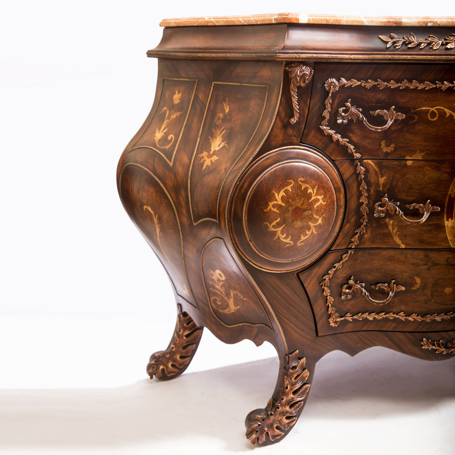 Louis XV Style Curved Commode with Marble Top (Wide)