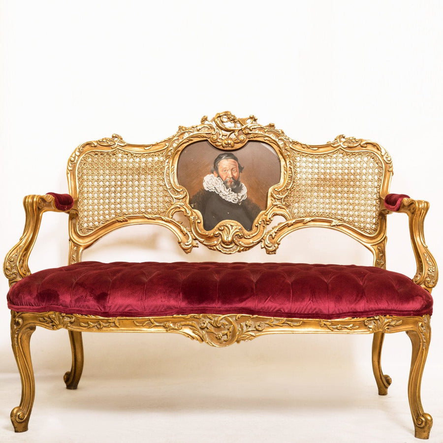 Louis XV Loveseat Tufted Seat Couch - Red