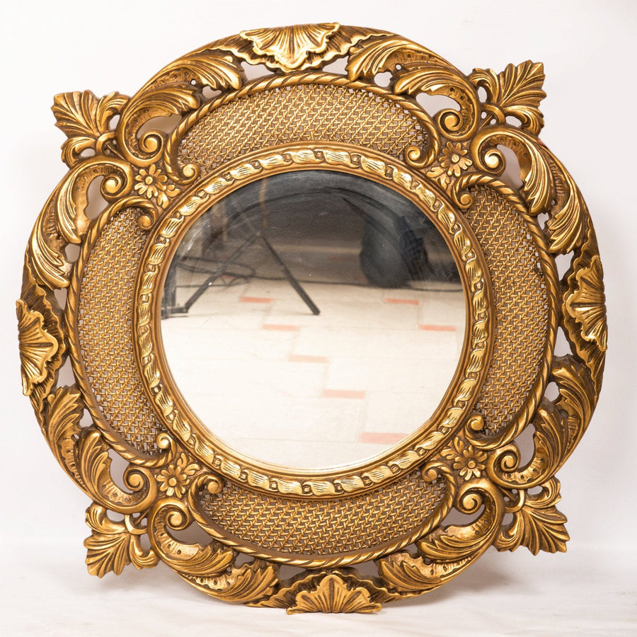 Circular Gold Gilded Decorative Mirror