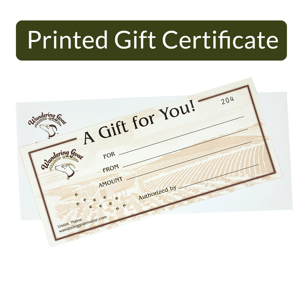 Gift Certificate (Printed and Mailed)
