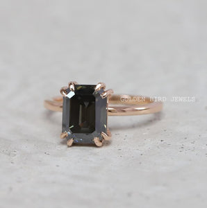 Dark Grey Emerald Cut Moissanite Engagement Ring in 18K Solid Gold