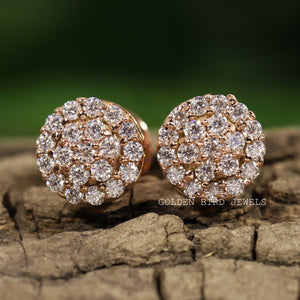 0.90 CT Colorless Round Moissanite Earrings - White Gold Halo Stud Earrings in 950 Platinum