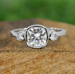 1.60 CT Colorless Cushion Cut Moissanite Ring / Three Stone Bezel Set Ring in 18K Solid Gold