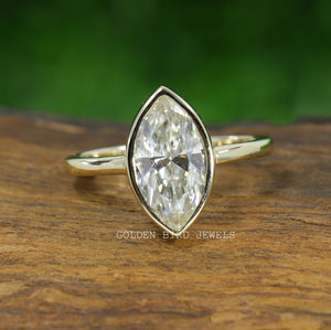 Bezel Set Yellow Gold Solitaire Ring / 1.50 CT Marquise Moissanite Ring in 935 Argentium Silver