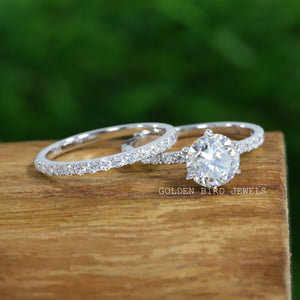 1.50 CT Colorless Round Moissanite Ring / Half Eternity Matching Band in 10K Solid Gold