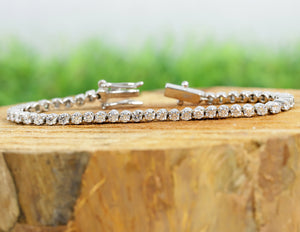 Round Moissanite Tennis Bracelet - White Gold Prong Set Bracelet in 10K Solid Gold