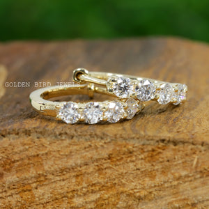 0.50-0.50 CT Colorless Round Moissanite Earrings - White Gold Hoop Earrings in 18K Solid Gold