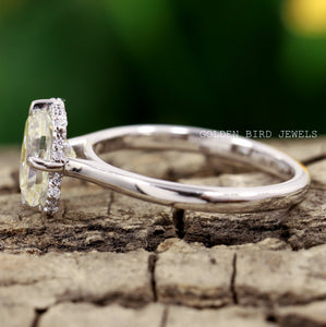 2.00 CT Off White Radiant Moissanite Ring / White Gold Halo Ring in 925 Sterling Silver