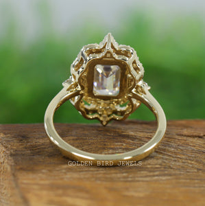 3.00 CT Emerald Moissanite Halo Vintage Ring / Rose Gold Art Deco Antique Ring in 18K Solid Gold