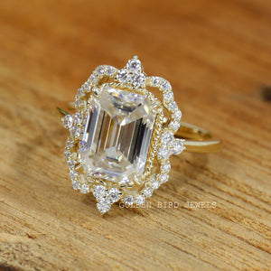 3.00 CT Emerald Moissanite Halo Vintage Ring / Rose Gold Art Deco Antique Ring in 14K Solid Gold