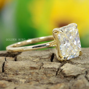 Colorless Radiant Moissanite Ring in 10K Solid Gold / Unique Wedding Ring / Solitaire Ring