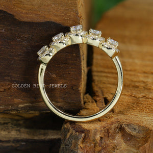 Colorless Round Moissanite Ring / Vintage White Gold Engagement Halo Ring in 10K Solid Gold