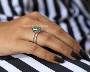 Green Moissanite Ring / Solitaire Ring / Emerald Cut Moissanite Ring in 925 Sterling Silver