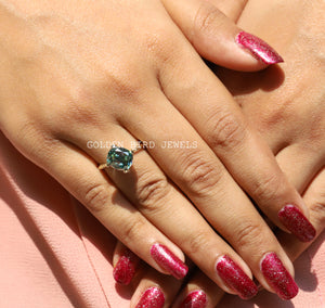 Green Colored Cushion Cut Solitaire Moissanite Ring in 14K Solid Gold / Twisted Shank Ring