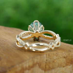 1.25 CT Green Oval Moissanite Ring / Solitaire Rose Gold  Engagement Ring in 18K Solid Gold