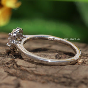 0.35 CT Near Colorless OEC Round Moissanite Halo Ring / White Gold Wedding Halo Ring in 935 Argentium Silver