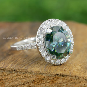 3.00 CT Green Oval Moissanite Ring / White Gold  Halo Wedding Ring in 18K Solid Gold