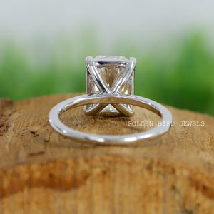 Colorless Radiant Moissanite Ring in 935 Argentium Silver / Unique Wedding Ring / Solitaire Ring