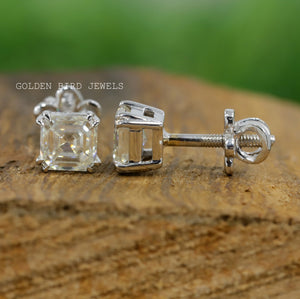 Moissanite Stud Earrings - 0.40-0.40 CT Colorless Asscher Moissanite Earrings in 925 Sterling Silver