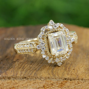 1.60 CT Colorless Emerald Moissanite Halo Ring / Gold Art Deco Filigree Ring in 950 Platinum