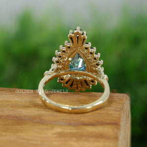 2.30 CT Green Moissanite Pear Shape Ring / Black Tapper Baguette Yellow Gold Ring in 935 Argentium Silver