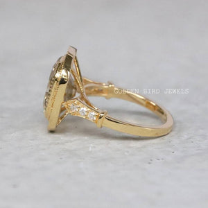Off White OMC Moissanite Ring / Yellow Gold Filigree Halo Wedding Ring in 14K Solid Gold