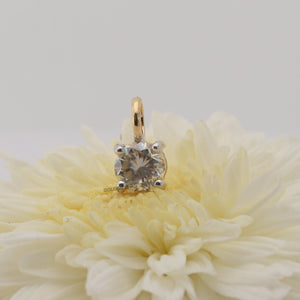 1.00 CT Near Colorless Round Moissanite Pendant - Yellow Gold Pendant in 10K Solid Gold