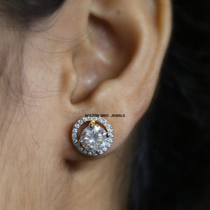 Near Colorless Round Moissanite Earrings - Yellow Gold Halo Stud Earrings in 925 Sterling Silver