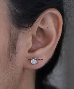 1.00 CT Colorless Asscher Moissanite Earrings - White Gold Earrings in 14K Solid Gold
