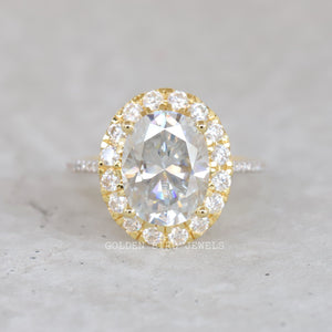 5.00 CT Colorless Oval Moissanite Ring / Yellow Gold Halo Wedding Ring in 935 Argentium Silver