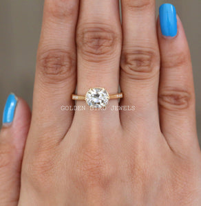 2.45 CT Near Colorless OMC Moissanite Ring / Yellow Gold Mil Grain Ring in 925 Sterling Silver