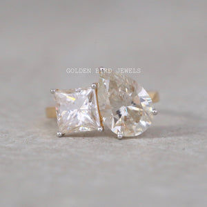 3.00 CT Colorless Pear Moissanite Ring / Princess Cut Wedding Ring Set in 10K Solid Gold