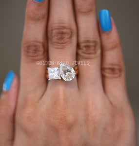 3.00 CT Colorless Pear Moissanite Ring / Princess Cut Wedding Ring Set in 14K Solid Gold
