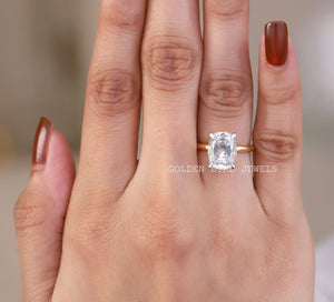 Colorless Elongated Old Mine Cushion Solitaire Ring /  Yellow Gold Ring in 10K Solid Gold
