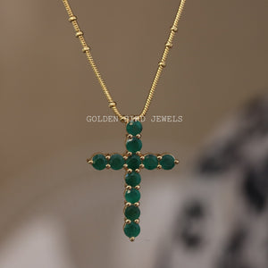 3.00 CT Green Emerald Gemstone Pendant - Yellow Gold Pendant in 935 Argentium Silver