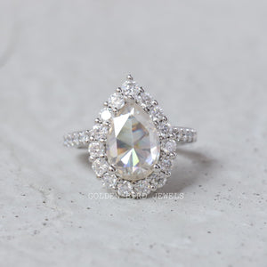 3.50 CT Colorless Rose Cut Pear Moissanite Ring / White Gold Halo Wedding Ring in 925 Sterling Silver