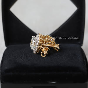 3.00 CT Asscher Colorless Round Moissanite Halo Earrings - Yellow Gold Earrings in 925 Sterling Silver
