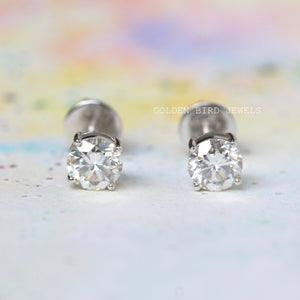 0.75 - 0.75 CT Near Colorless Round Moissanite Stud Earrings in 10K Solid Gold