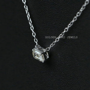 0.50 CT Colorless Emerald  Moissanite Necklace - White Gold Pendant Necklace in 14K Solid Gold