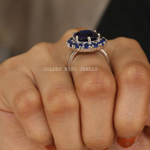 Blue Sapphire Oval Gemstone Moissanite Ring / White Gold Halo Wedding Ring in 18K Solid Gold
