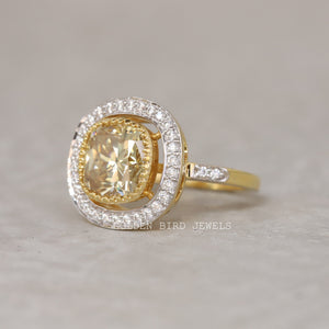 Yellow Cushion Cut Moissanite Halo Ring / Art Deco Antique Filigree Ring in 935 Argentium Silver