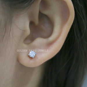 0.75 CT Colorless Round Moissanite Earrings - White Gold Stud Earrings in 925 Sterling Silver
