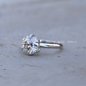 1.50 CT Round Moissanite Ring / White Gold Solitaire Ring in 18K Solid Gold