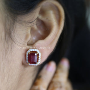 Red Ruby Emerald Cut Moissanite Earrings - Yellow Gold  Halo Stud Earrings in 950 Platinum