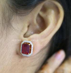 Red Ruby Emerald Cut Moissanite Earrings - Yellow Gold  Halo Stud Earrings in 18K Solid Gold