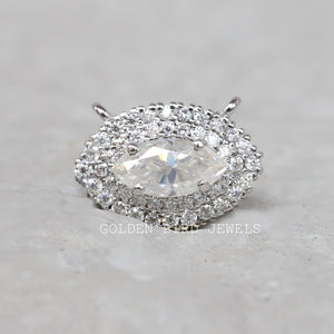 0.75 CT Colorless Marquise Moissanite Pendant - Yellow Gold Halo Pendant in 935 Argentium Silver
