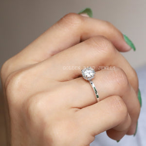 1.00 CT Colorless Round Hidden Halo Ring / Moissanite Diamond White Gold Ring in 14K Solid Gold