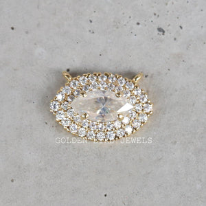 0.75 CT Colorless Marquise Moissanite Pendant - Yellow Gold Halo Pendant in 10K Solid Gold